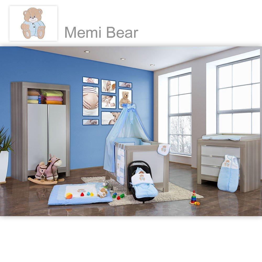 Babyzimmer Felix in akaziengrau 19 tlg. mit 2 türigem Kl. + Memi Bear Blau
