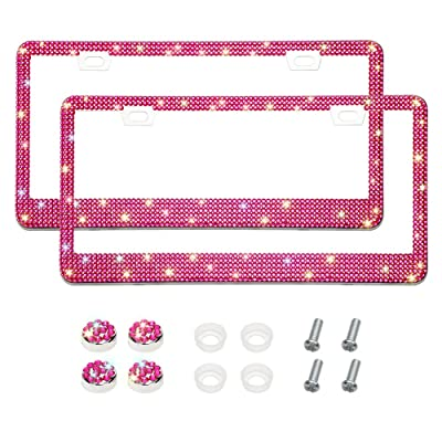 Otostar Bling Bling Car License Plate Frame, Handmade 8 Facets Rhinestones Stainless Steel License Plate Holder Cover with Screws Caps - 2 Pack (Hot Pink 6 Rows 2 Holes): Automotive