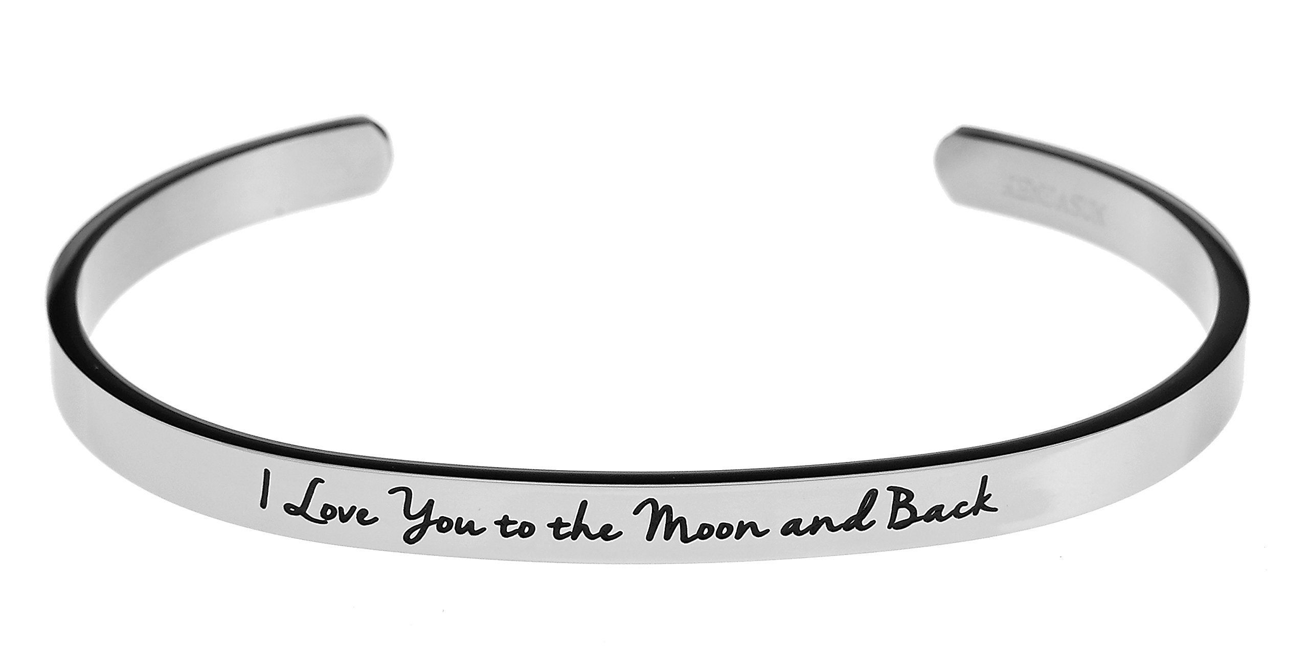 Kendasun Jewelry I Love You to the Moon and Back Inspirational Messaged Cuff Bracelet Bangle (White)