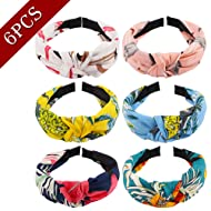 Jaciya 6 Pieces Knotted Headbands for Women Turban Headbands for Women Wide Floral Headbands for Women Knot Headband 6 Colors
