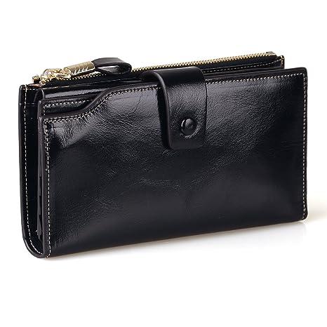 d9bc7799 Jack&Chris Women's RFID Blocking Luxury Wax Genuine Leather Clutch Wallet  Card Holder Organizer Ladies Purse, WB301 (Black)