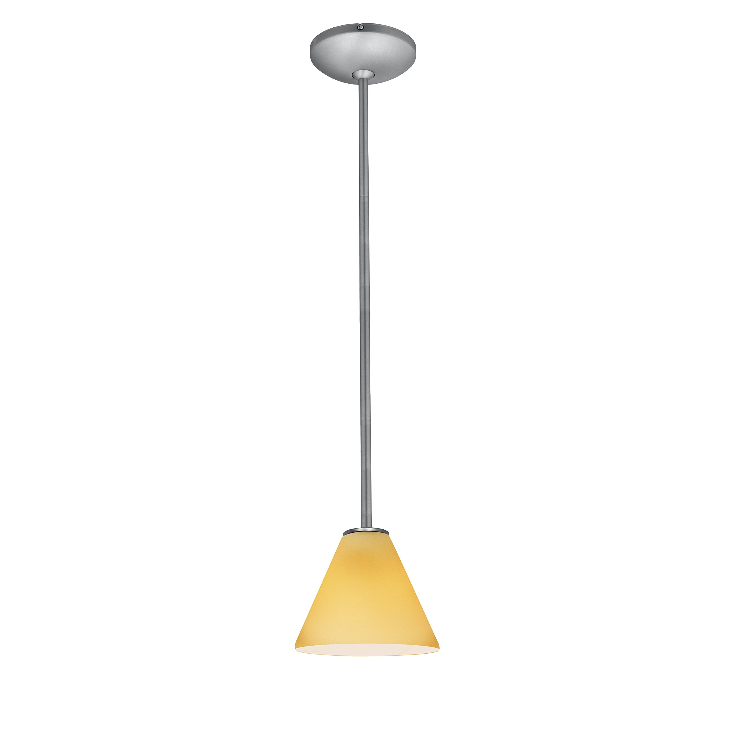 Martini - E26 LED Rod Pendant - Brushed Steel Finish - Amber Glass Shade