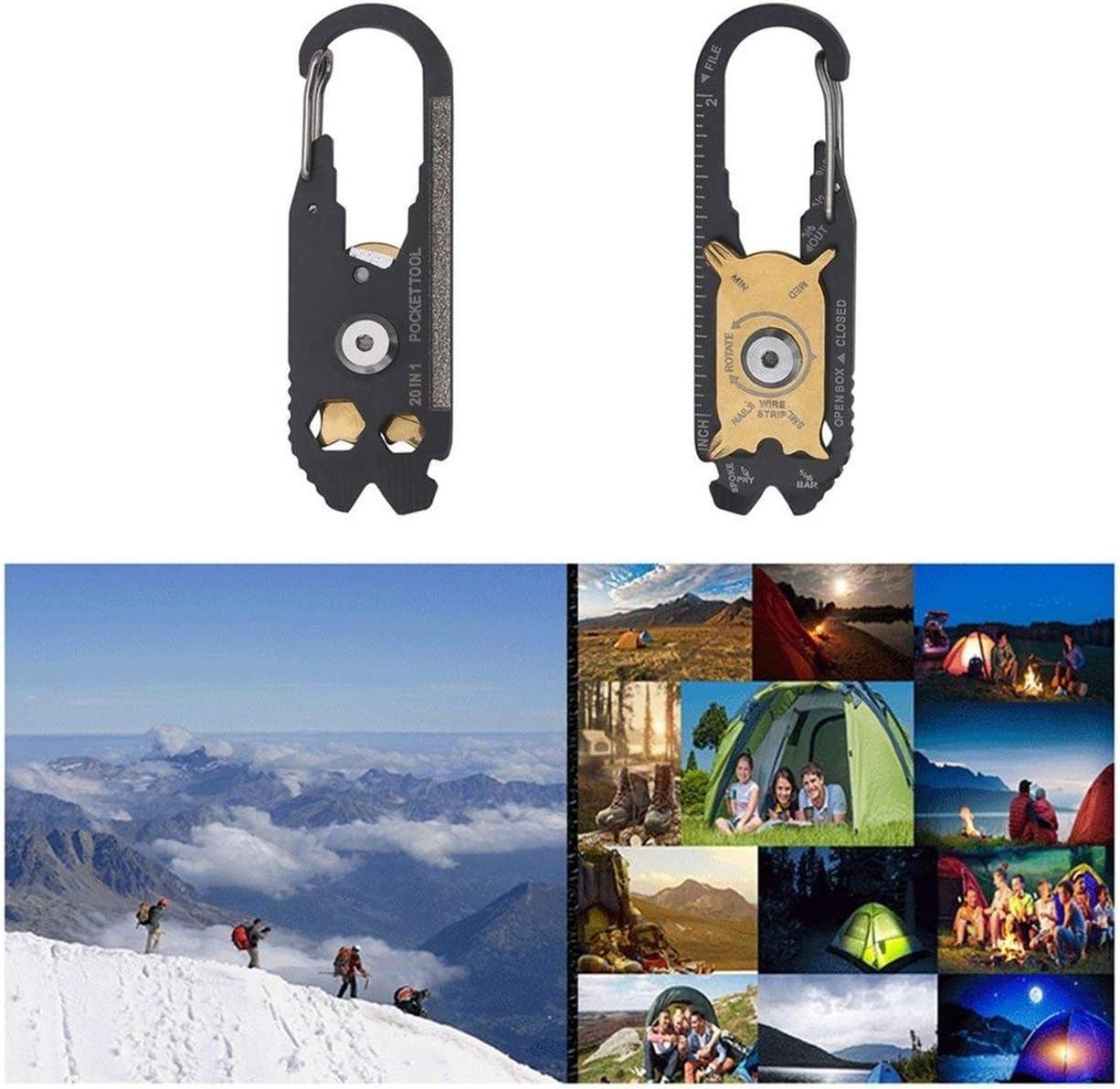 Lorenlli 20 en 1 herramienta de supervivencia de mosquet/ón multifuncional llavero gancho anillo de utilidad escalada acampar al aire libre equipo de senderismo hebillas