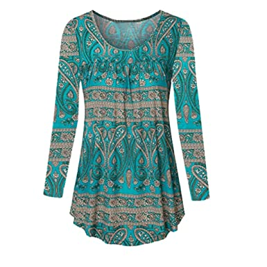 573605f7ff91a Encolure dégagée Femmes Manches Longues Blouse Grande Taille Top Tunique  Chemise Malloom