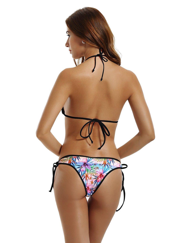 Monaco Flag City Night Light Womens Sexy Bikini Set Outdoor Swimwear Adjustable Swimsuit Halterneck Bathing Suit 2 Piece