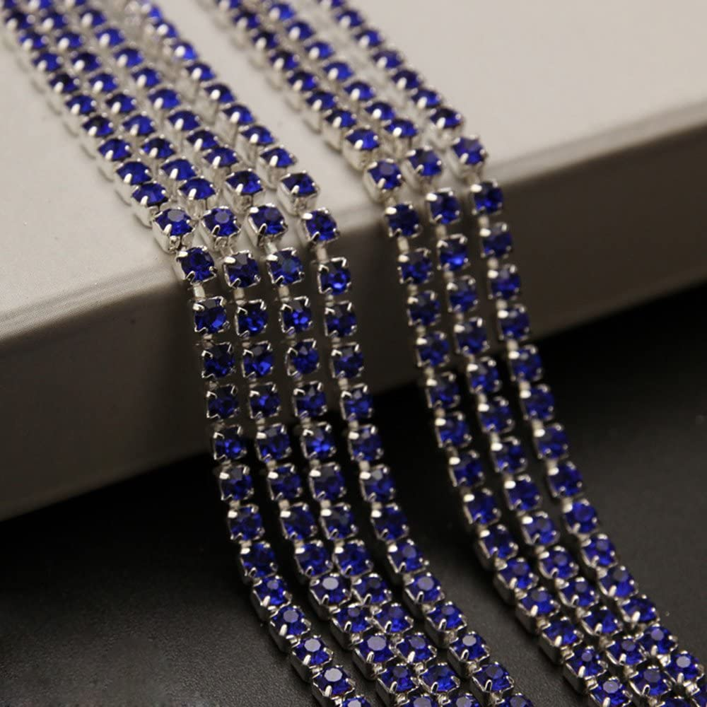 USIX 10 Yards Crystal Rhinestone Close Chain Trimming Claw Chain Multi Size Color Rhinestone Chain for DIY Arts Craft Sewing Jewelry Making SS12//3.0MM Aqua-Silver Chain