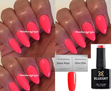 Bluesky A74 Bright Neon Pink Coral Rose Nail Gel Polish UV LED Soak ...