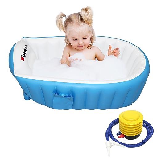 Signstek – Bañera hinchable, piscina hinchable, barreño para niños y bebés blanco azul