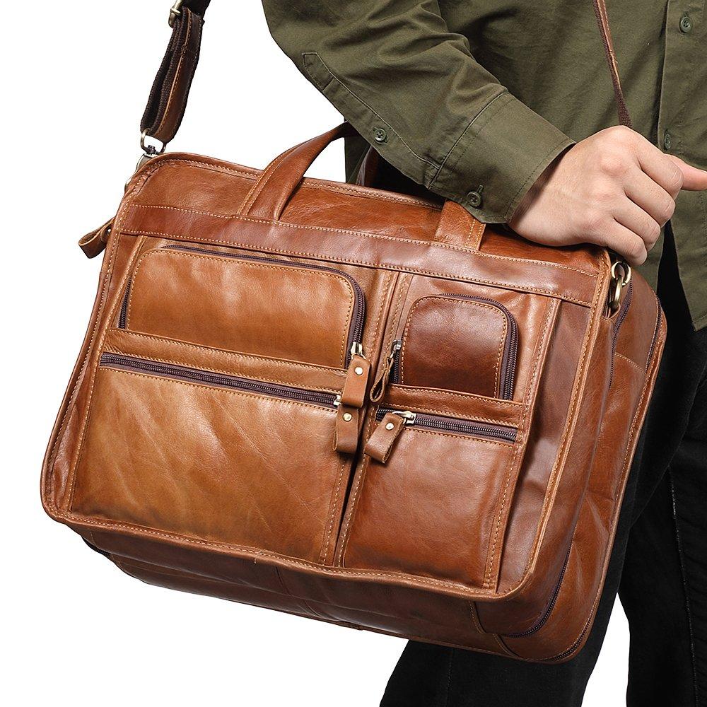 Kucspp Genuine Leather Laptop Messenger Bag Business Briefcase Travel Duffel Luggage Bag