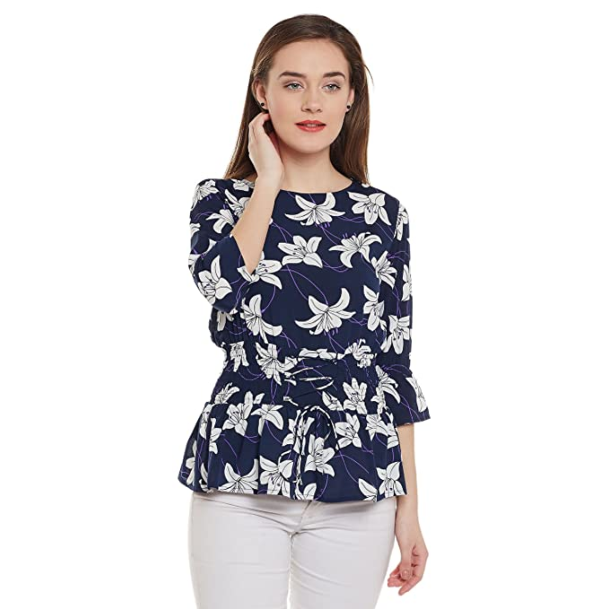8b71fc0bf0a6 Ruhaan's Women's Navy Blue and White Color Floral Printed Crepe Top  (BS_7118_XXL)