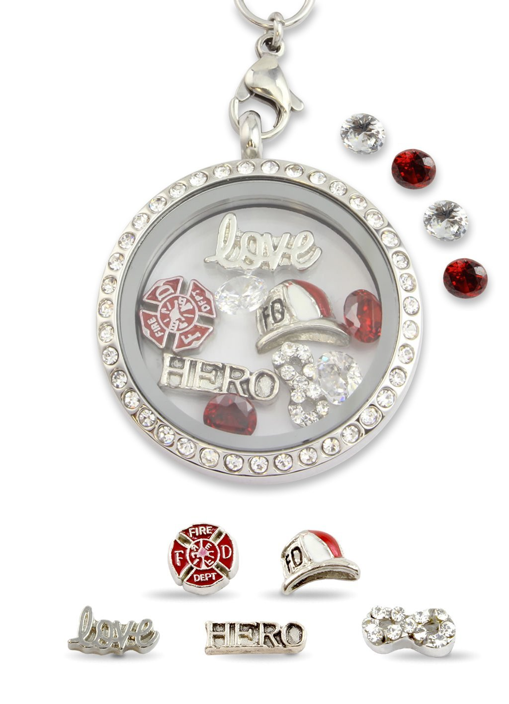 Infinity Love Firefighter Hero Floating Charm Living Memory Locket Magnetic Closure 30mm Stainless Steel Pendant Necklace