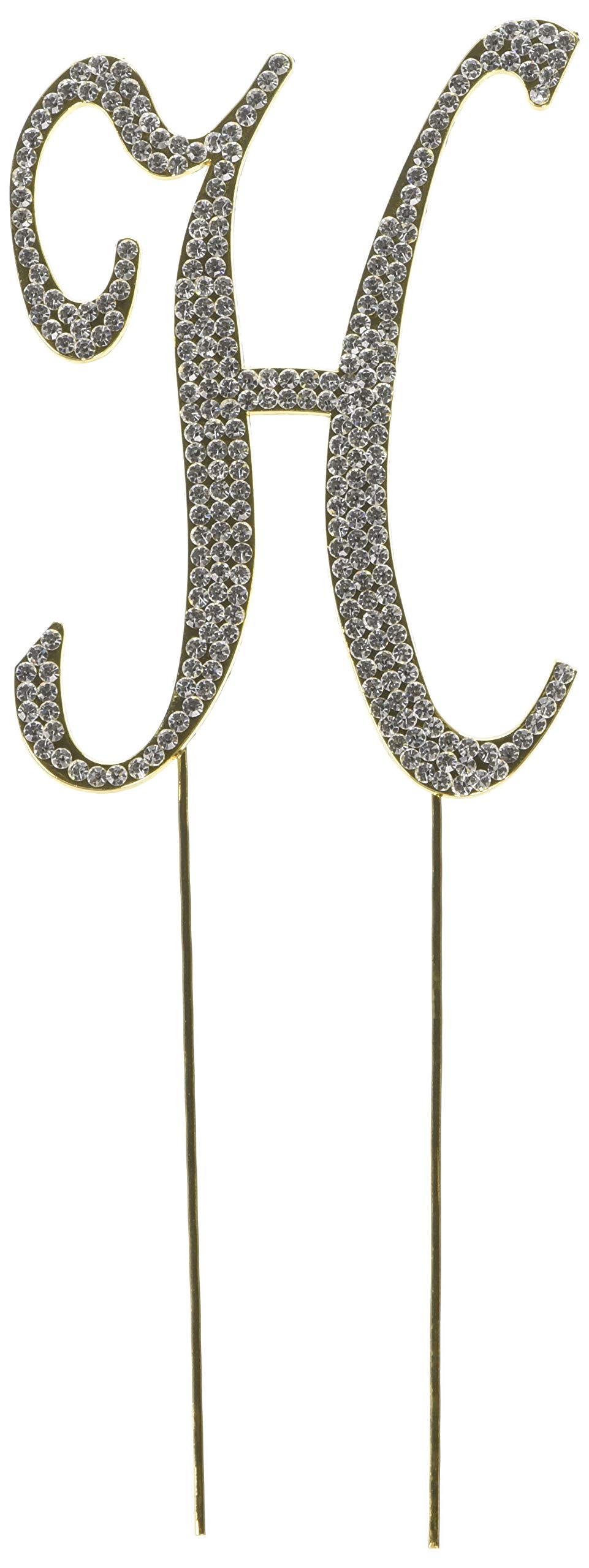 Unik Occasions Sparkling Collection Crystal Rhinestone Monogram Cake Topper - Letter H, Large, Gold