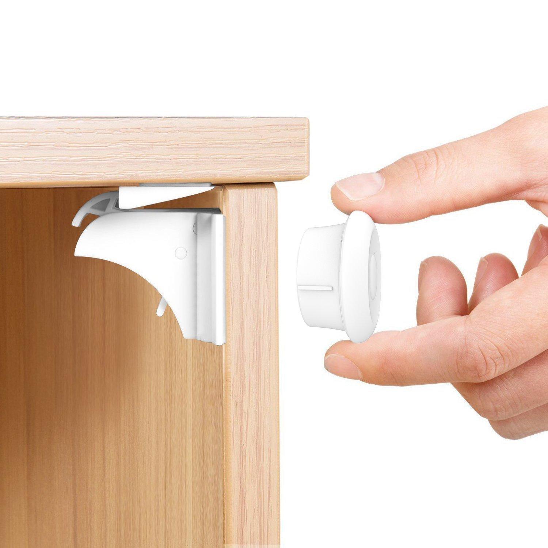 CALISH Child Safety Cupboard Locks Set 10 Locks+2 Keys Magnetic locks No Drilling Magnetic Adhesive Lock for Drawers, Cabinet (White) YE-002-2+10