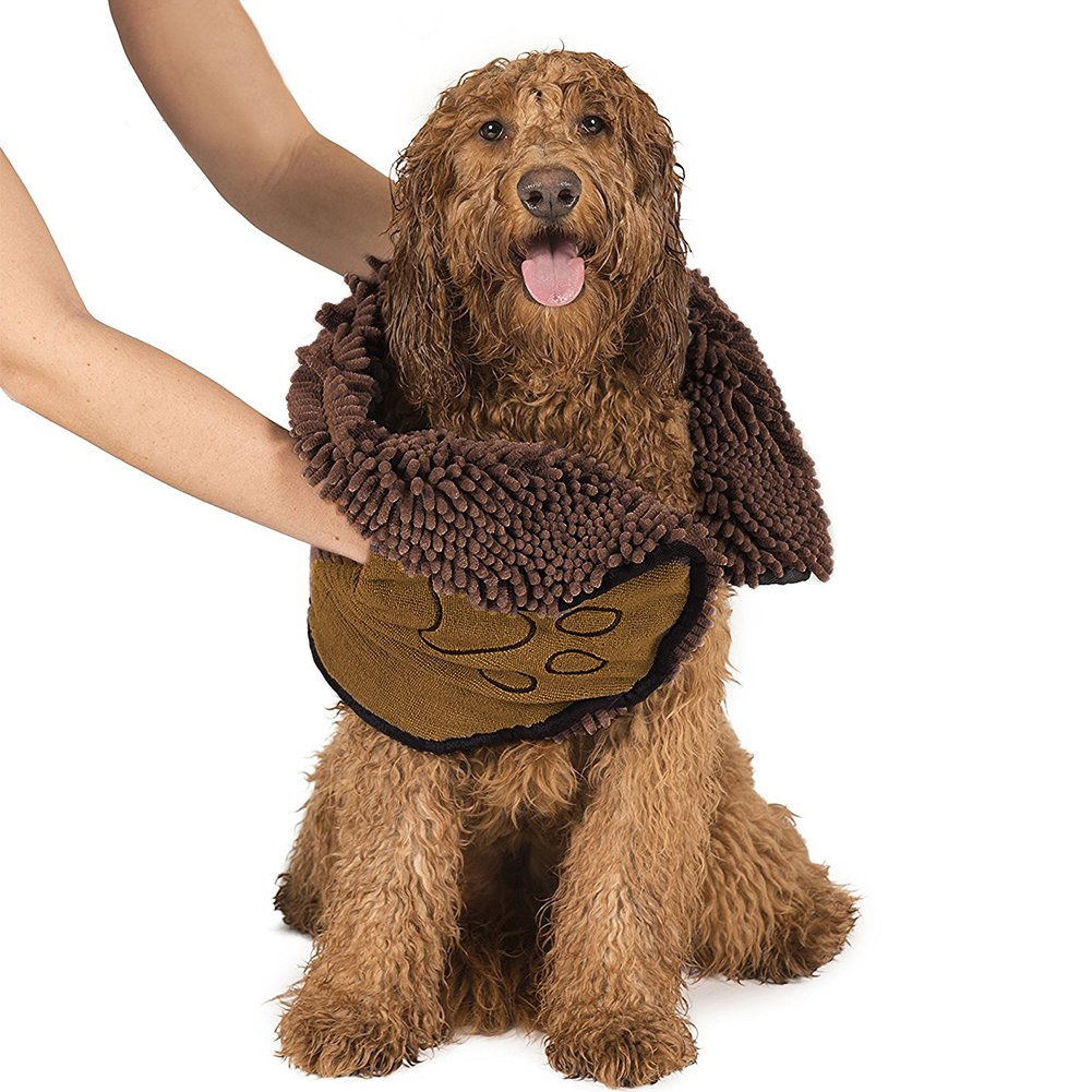 Pet Dog Towel, Quick Drying Absorbent Microfiber Shammy pet Towel with Hand Pockets Ultra-Absorbent & Machine Washable Durable, Quick Drying Washable Prevent Mud Dirt for Dogs/Cats of All Breed(Brown