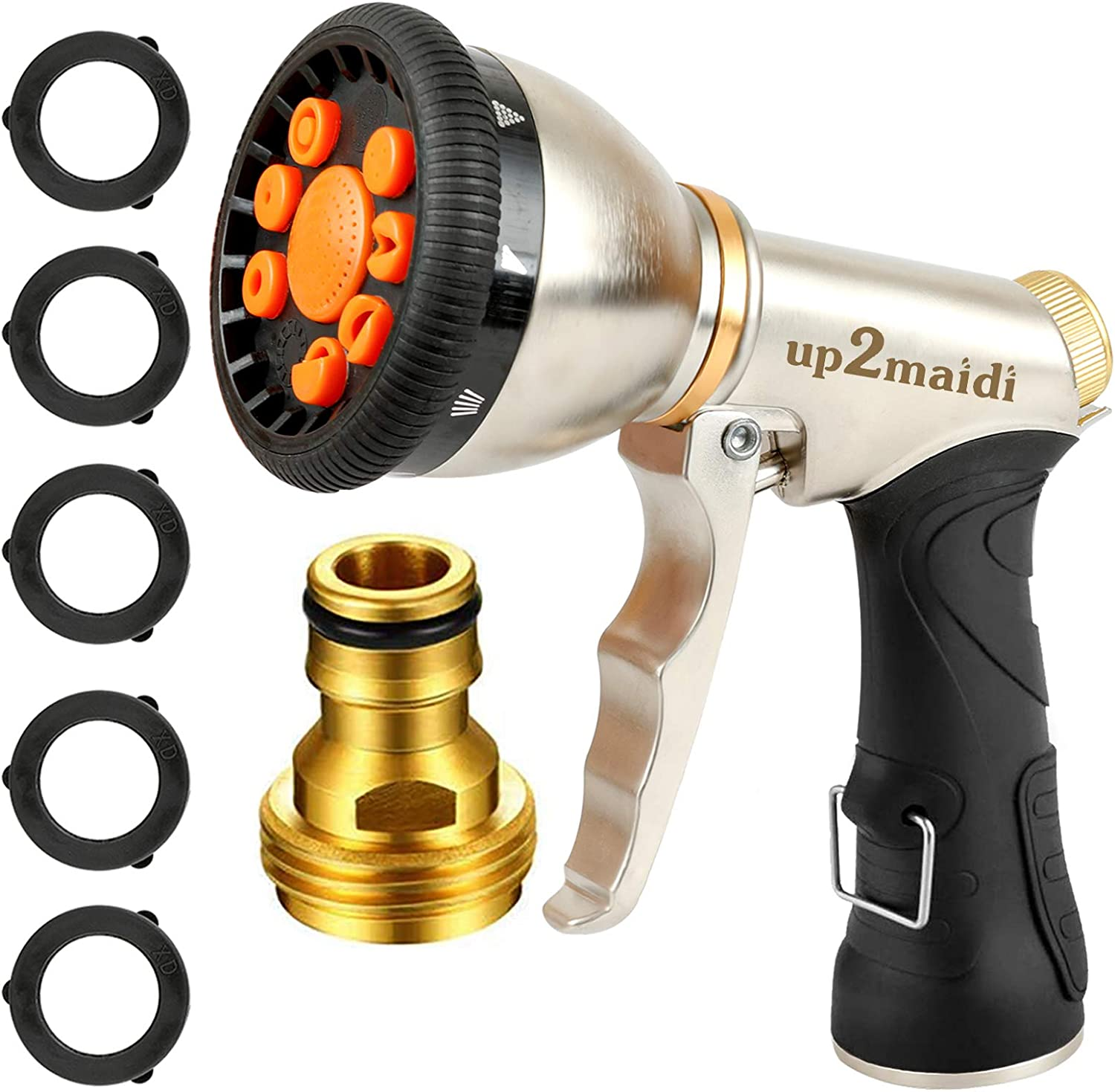UP2MAIDI Garden Hose Nozzle Heavy-Duty, Easy to Use Spray Nozzle High Pressure Water Hose Nozzle with 9 Patterns for Watering Garden, Washing Cars and Showering Dogs Pets