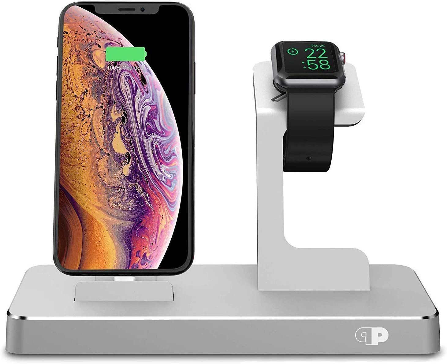 PRESS PLAY Charging Dock for Apple Watch & iPhone (Apple Certified), ONEDock Power Station w/Built-in Original Apple Lightning Connector for Docking, Made for Series, 5,4,3,2,1, AirPods, iPod