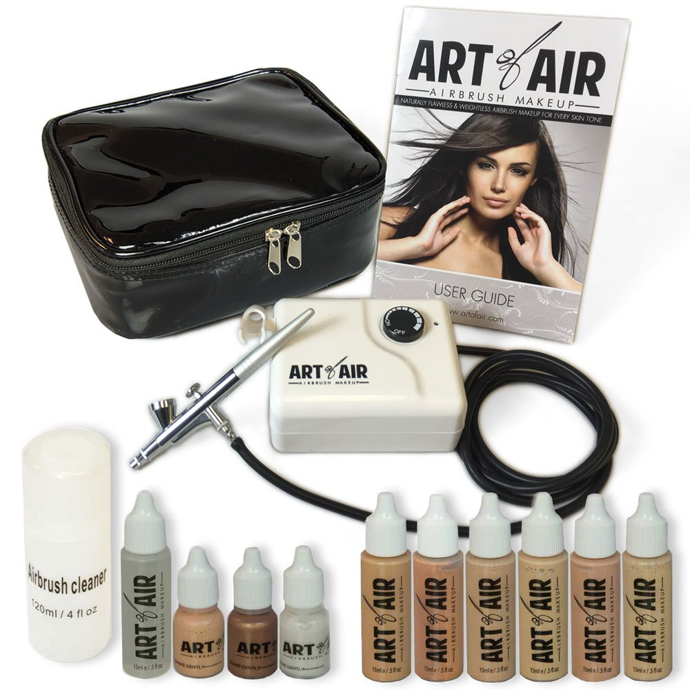 Art of Air Professional Airbrush Cosmetic Makeup System/Fair to Medium Shades 6pc Foundation Set with Blush, Bronzer, Shimmer and Primer Makeup Airbrush Kit AOA-01