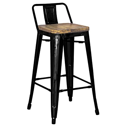 Miraculous Amazon Com Metro Low Back Counter Stool Black Wood Caraccident5 Cool Chair Designs And Ideas Caraccident5Info