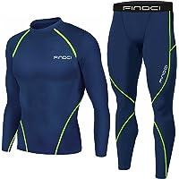 1Bests Heren Sport Running Set Compressie Shirt + Broek Huiddichte Lange Mouwen Sneldrogend Fitness Trainingspak Gym…