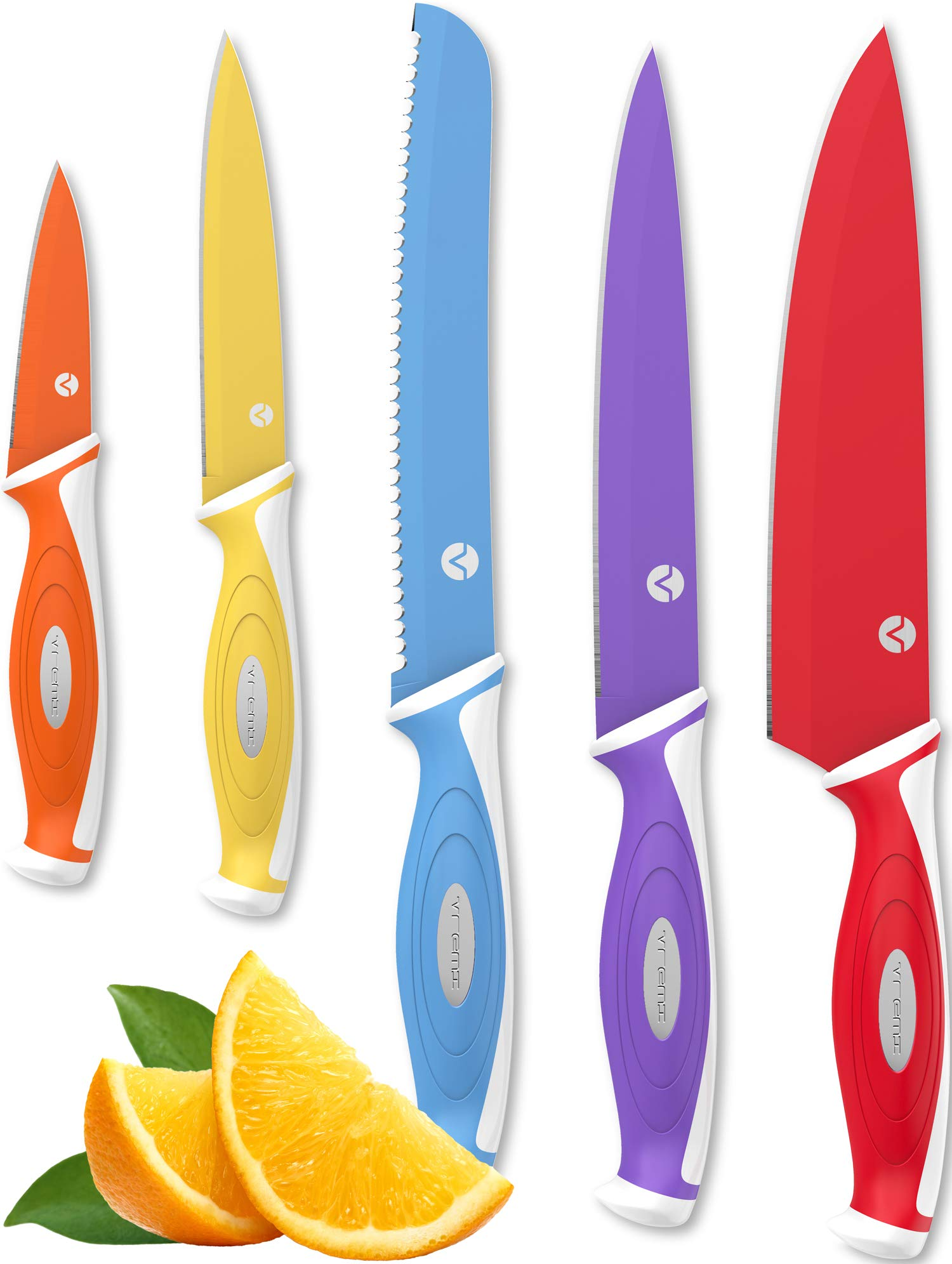 Vremi 10 Piece Colorful Knife Set - 5 Kitchen Knives with 5 Knife Sheath Covers - Chef Knife Sets with Carving Serrated Utility Chef's and Paring Knives - Magnetic Knife Set with Matching Color Case by Vremi