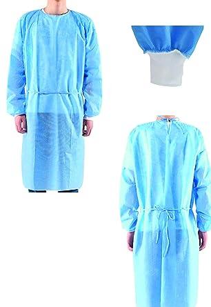 10 vestidos quirúrgicos desechables, color azul, de 25 g/m² ...