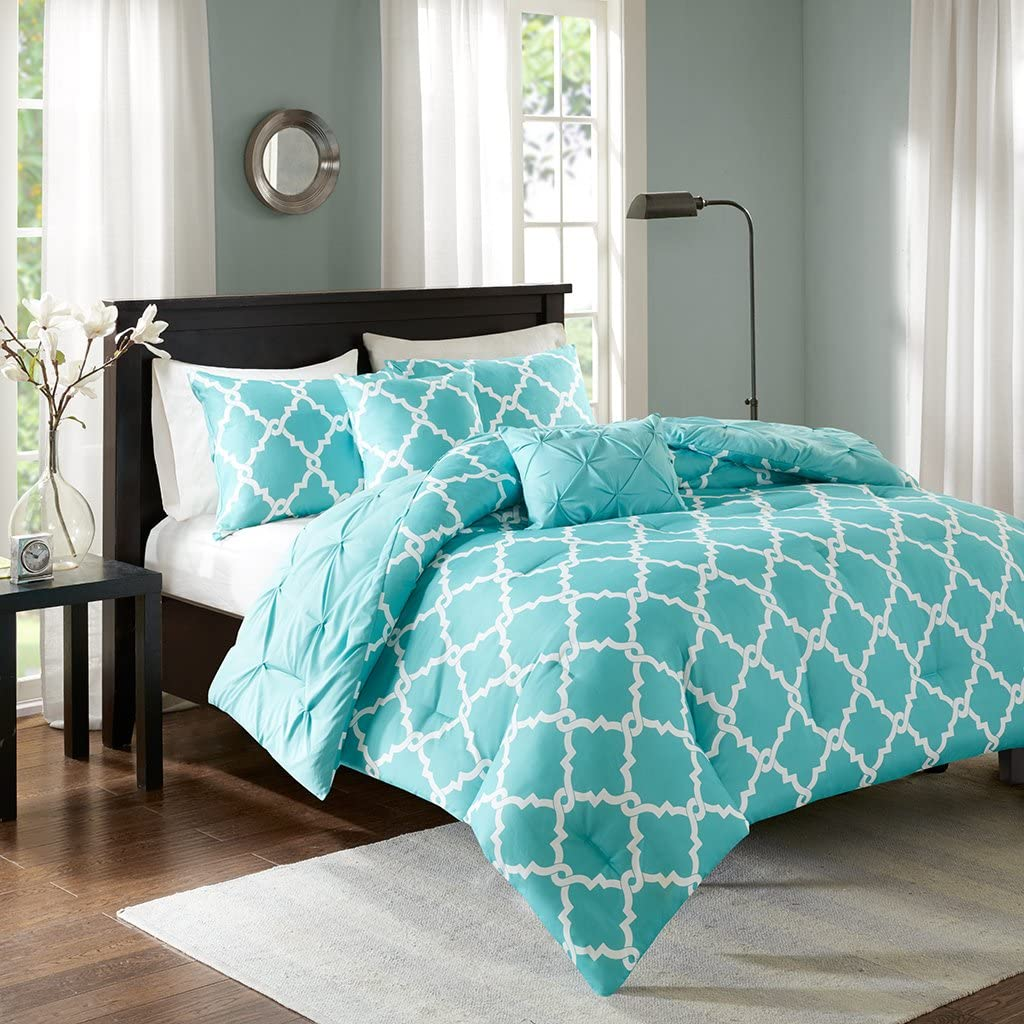 Madison Park Essentials Kasey Full/Queen Size Bed Comforter Set - Aqua, Reversible Tufted, Ogee Fretwork – 5 Pieces Bedding Sets – Ultra Soft Microfiber Bedroom Comforters