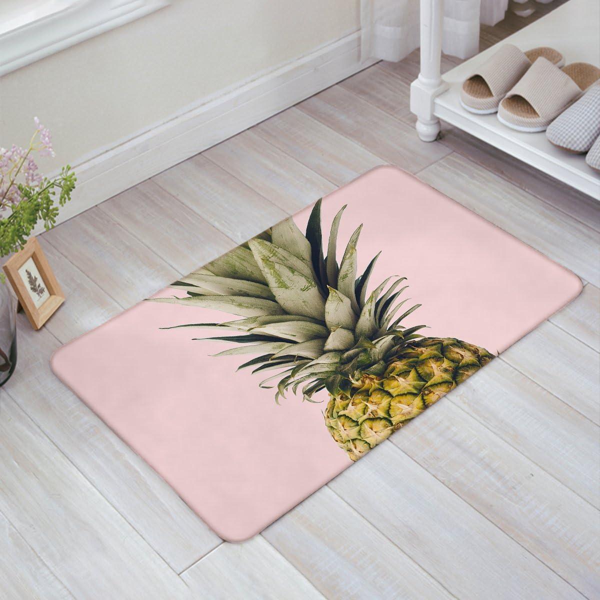 HomeCreator Pineapple Pink Door Mats Kitchen Floor Bath Entrance Rug Mat Absorbent Indoor Bathroom Decor Doormats Rubber Non Slip 32 x 20