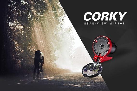 Aerodin/ámica Dise/ño Espejo retrovisor para bicicleta de carreras CORKY by THE BEAM Fijaci/ón en los mangos del manillar