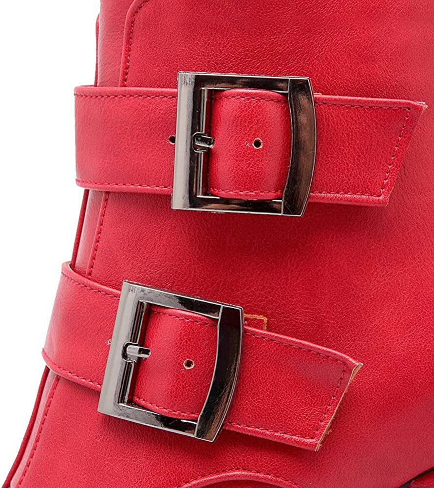 AmoonyFashion Womens High-Heels Pu Ankle-High Solid Zipper Boots BUSXT120183