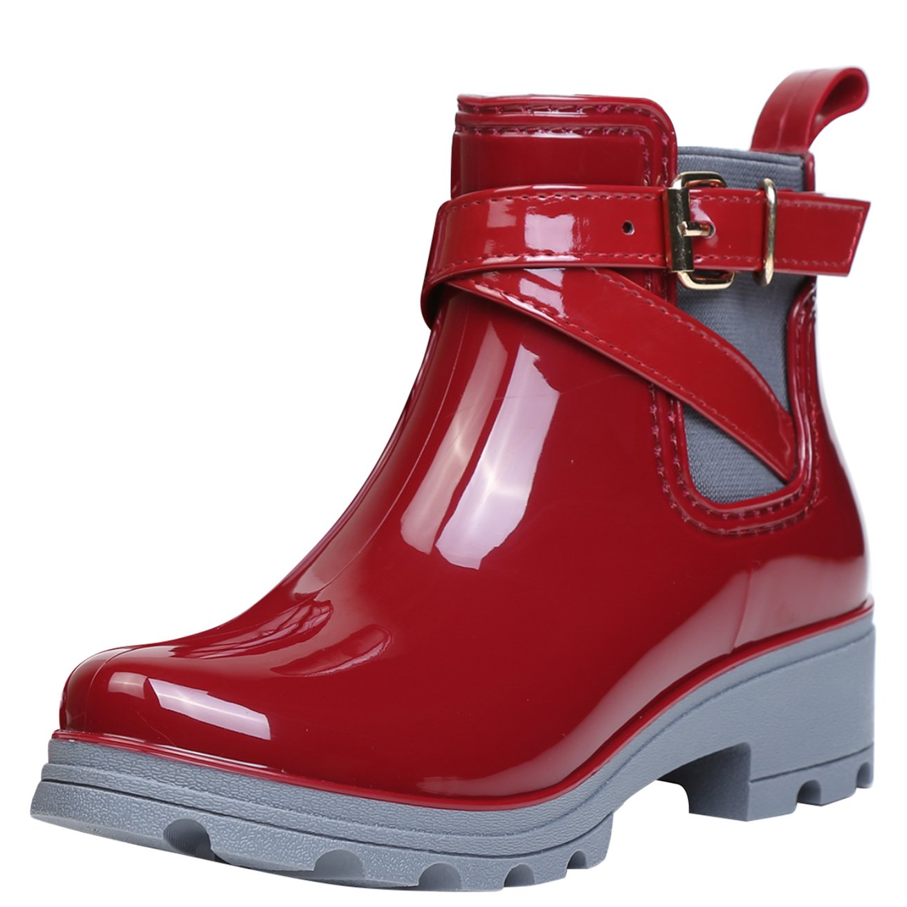 Women Wellington Boots Rubber Rain Boot Ankle Wellies Ladies Chelsea Shoes