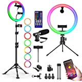 """12"""" RGB Selfie Ring Light with Video Microphone Two Tripod Stand & Two Phone Holder for TikTok Live Stream Make Up, Upgraded"""