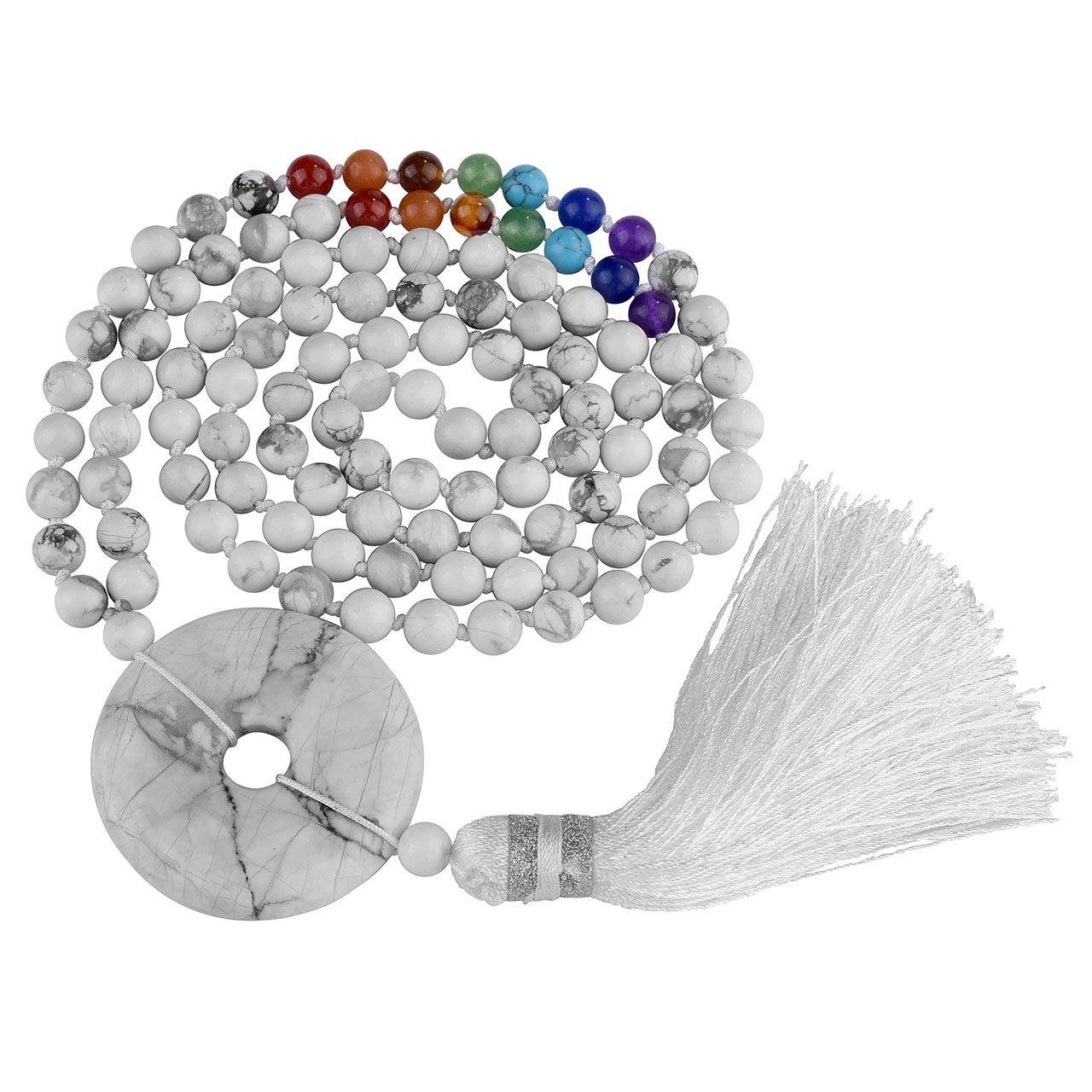 Top Plaza 7 Chakra Buddhist Mala Prayer Beads 108 Meditation Multilayer Healing Gemstone Bracelet/Necklace W/Tassel Protective Charm(White Howlite)