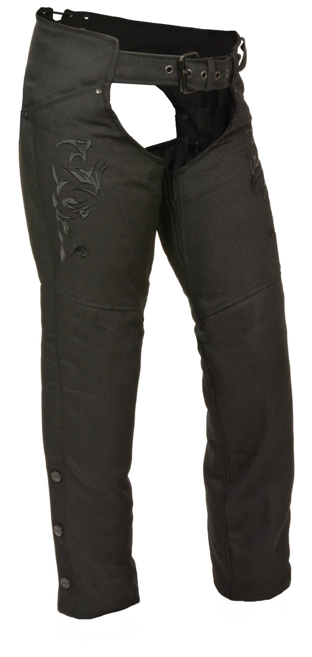 Milwaukee Leather Nylon Womens Chaps Womens Textile Chap Tribal Embroidery / Reflective Detail - Large - Black