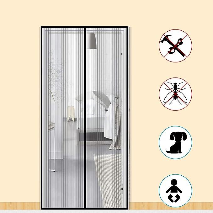 Zalava Mosquitera magnética para puerta de balcón, salón o patio, puerta de 100 x 210 cm, 120 x 240 cm, 160 x 230 cm, fácil de instalar, sin necesidad de taladrar, negro: Amazon.es: Bricolaje y herramientas