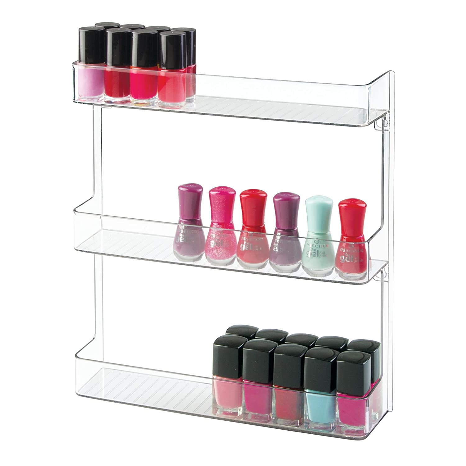 mDesign Wall-Mounted Nail Polish Shelf - Stylish Cosmetics Tray for The Bathroom - Nail Care Products Holder - Practical Cosmetics Storage with 3 Levels - Clear MetroDecor 8114MDC