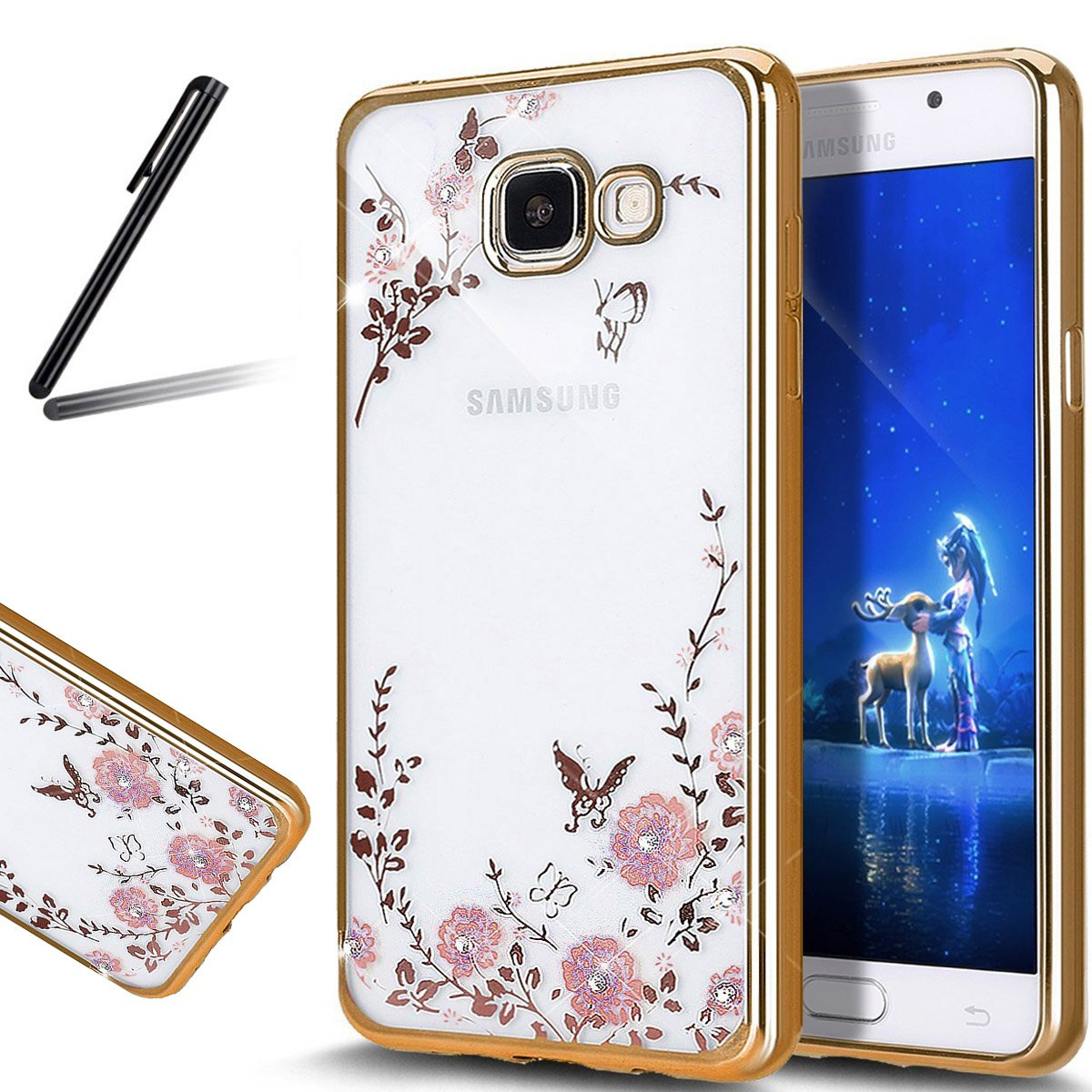 Galaxy A5 2017 Case, Galaxy A5 2017 Cover, SKYMARS Electroplating Butterfly Flower Bling Glitter Diamond Clear TPU Back Transparent Soft Flexible Silicone Bumper Protective Case For Samsung Galaxy A5 2017 (SM-A520) - Gold