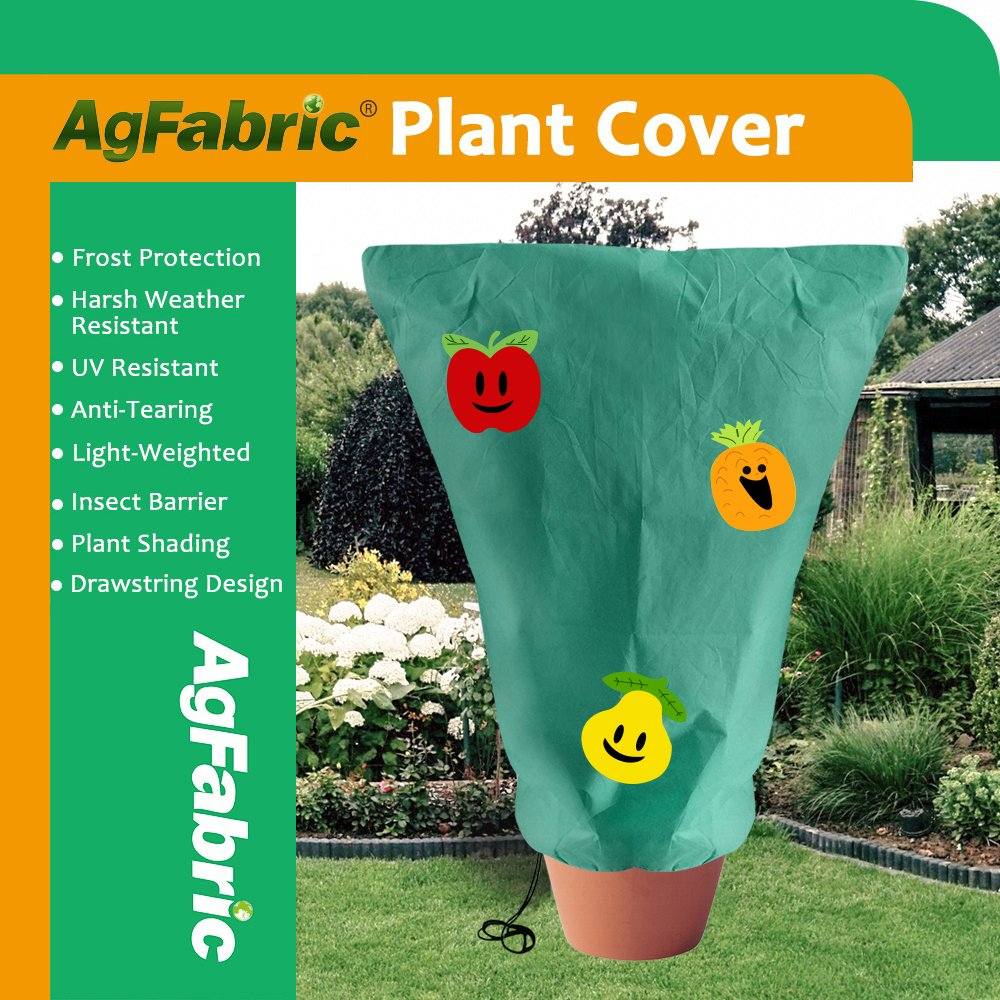 Agfabric Decorative Warm Worth Frost Blanket - 0.95 oz Fabric of 26''x30'' Shrub Jacket with Apple, Pineapple & Pear, 3D Round Plant Cover for Frost Protection,Dark Green by Agfabric