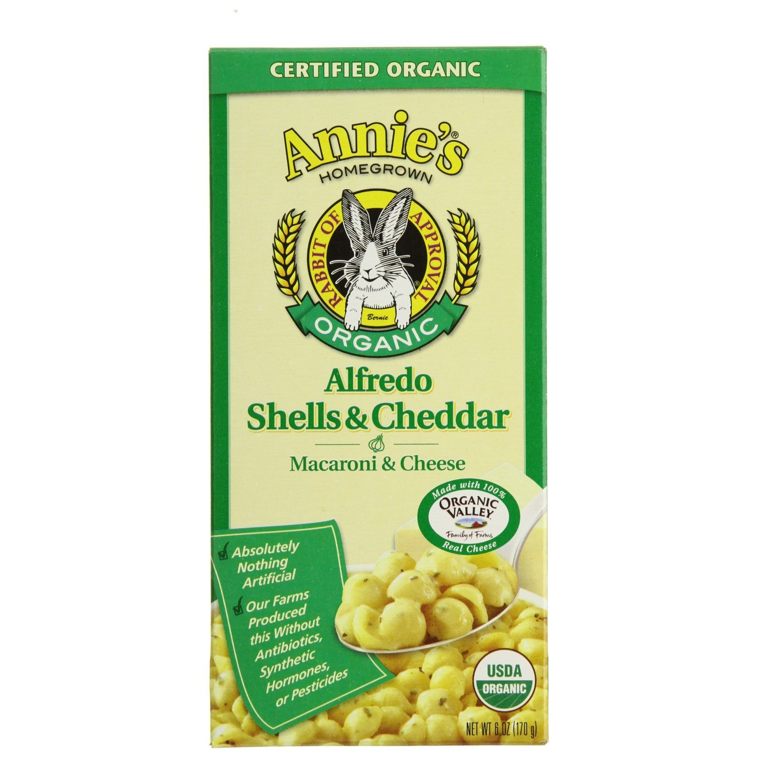 Annie's Homegrown Organic Alfredo Shells & Cheddar 6-Ounce (Pack of 96)