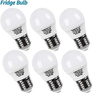 TORCHSTAR LED Refrigerator Light Bulb, A15 Fridge Bulb, 5W (40W Eqv.), UL-Listed, Wide Beam Angle for Freezer, Ceiling Fan Light, Desk Lamp, E26/E27 Base, 5000K Daylight, Pack of 6