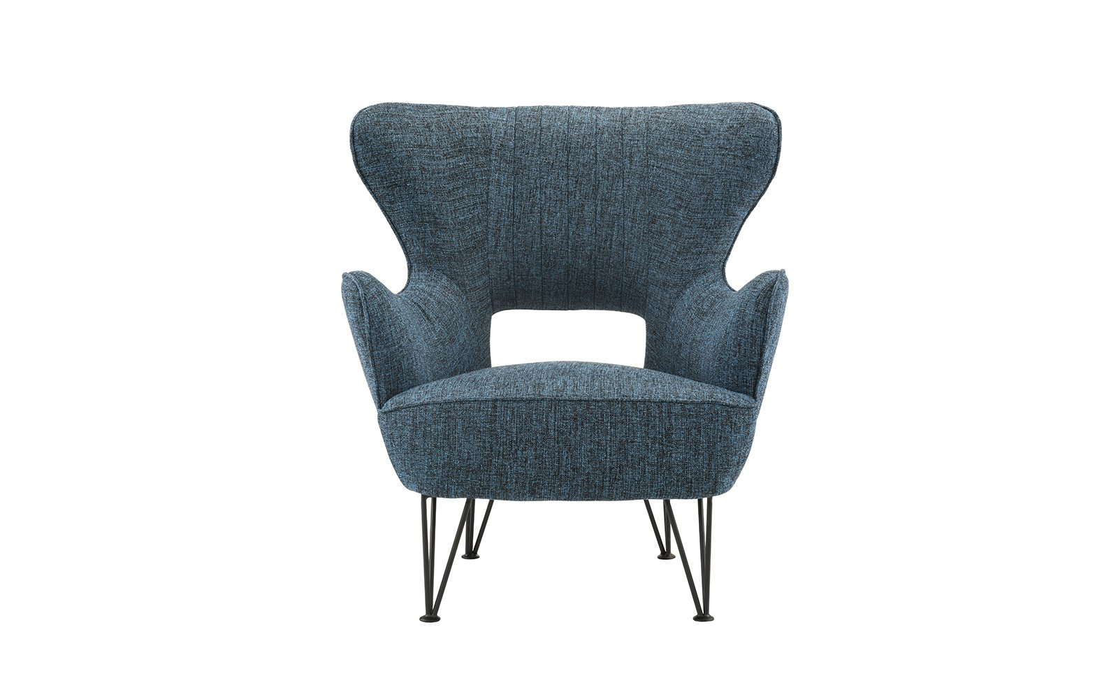Mid-Century Modern Linen Fabric Accent Armchair with Shelter Style Living Room Chair (Dark Blue) - Armchair with a futuristic yet mid-century modern feel with shelter frame and other modern accents. Features hand picked soft linen fabric with a pleated detail on back rest and pin-legs. Hardwood frame with upholstery in various colors to best fit your decor and style. Tight seat filled with high density foam with comfort foam around frame and back as well. - living-room-furniture, living-room, accent-chairs - 71NV1OOOMhL -