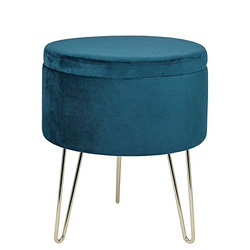 GLOVAL HOME Modern Round Velvet Storage Ottoman Footrest Stool Seat with Gold Metal Legs Tray Top Coffee Table,Vanity Stool- Teal