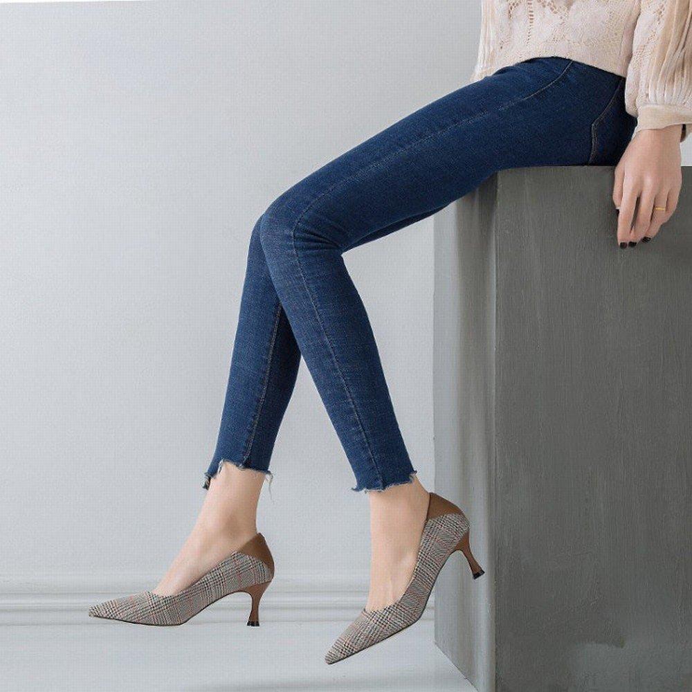 DIDIDD DIDIDD DIDIDD Einfacher Schuh Spitz mit High Heels Plaid Wilden Flachen Fersen Schuhe Ein 38 e012b6