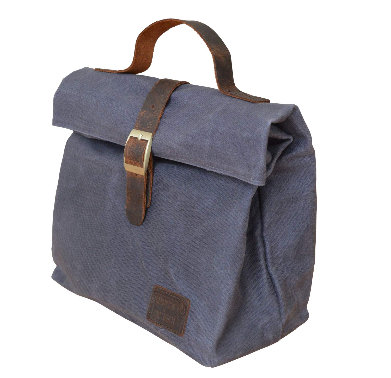 Insulated Waxed Cotton Canvas Lunch Bag for Men&Women w/Genuine Leather Details & Outside Pocket | Perfect For Work, School, Picnic or Travel |Designer Tote |Light Weight, Spacious, Collapsible (Blue)