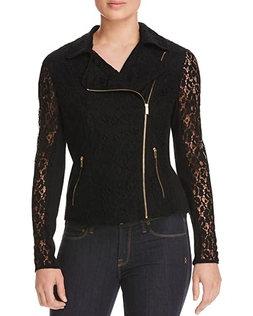 a47ae0a2cb42b8 Calvin Klein Womens Lace Mixed Media Motorcycle Jacket Black S ...