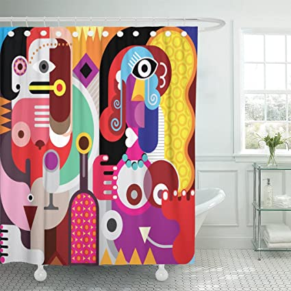 Emvency Shower Curtain Colorful Picasso Two Beautiful Women With Bottle Of Wine Abstract Fine Person Figure