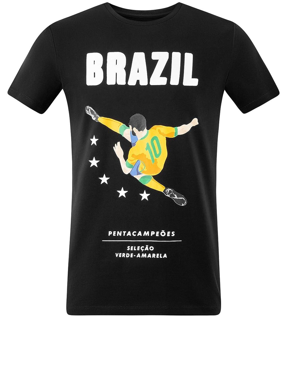 oodji Ultra Hombre Camiseta de Algodón sin Etiqueta con Estampado de Fútbol: Amazon.es: Ropa y accesorios