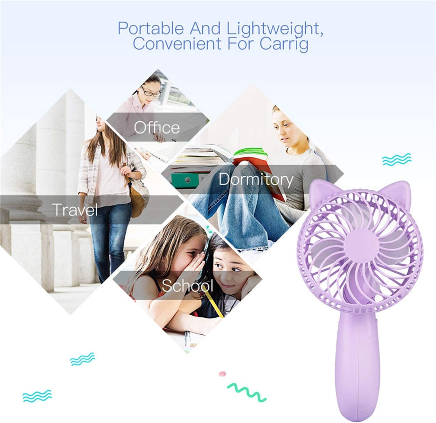 Handheld Mini USB Fan Air Cooler Portable Rechargeable Small Desk Desktop Cooling Fan Rotatable Handle Personal Hand Fans,Pink