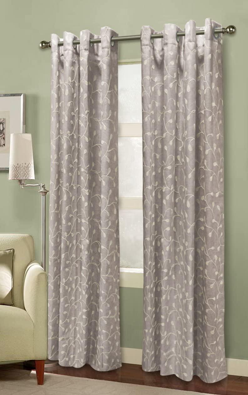 CHD Home Textiles 2-Piece Flora Heavy Embroidered Jacquard 8 Grommets Anniston Curtain