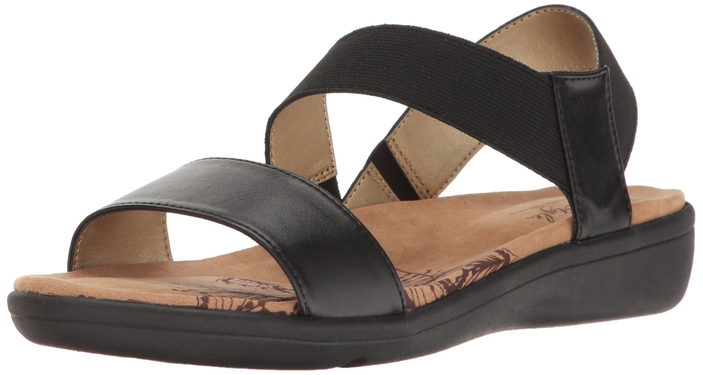 Soft Style by Hush Puppies Women's Prema Flat Sandal, Black, 7 M US