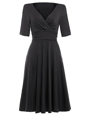 4ac36d99e5ab9f 50s Dress Rockabilly Damen schwarz Casual Kleid Motto Partykleid  cocktailkleider Knielang Rock L BP006-1